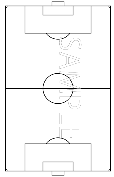 サッカーのフィールド白黒(国際サイズの最小)