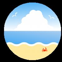 穏やかな波と入道雲とカモメ