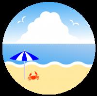 穏やかな海とビーチパラソルの下にもぐりこむ蟹