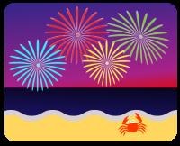 ビーチの夜空を彩る打ち上げ花火