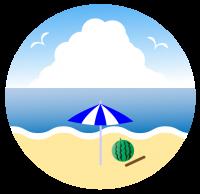 スイカと棒とビーチ