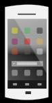 白カラフルアイコンのホーム画面