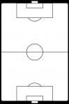サッカーのフィールド白黒(国際サイズの最大)